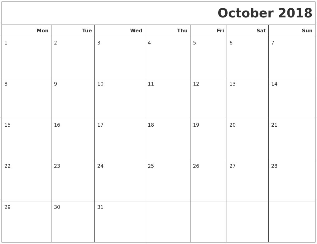 October 2018 Calendar Printable Monday Start | Print