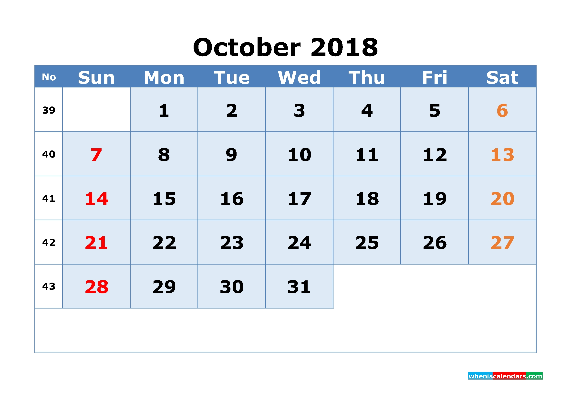 October 2018 Calendar With Week Numbers Printable 1 Month