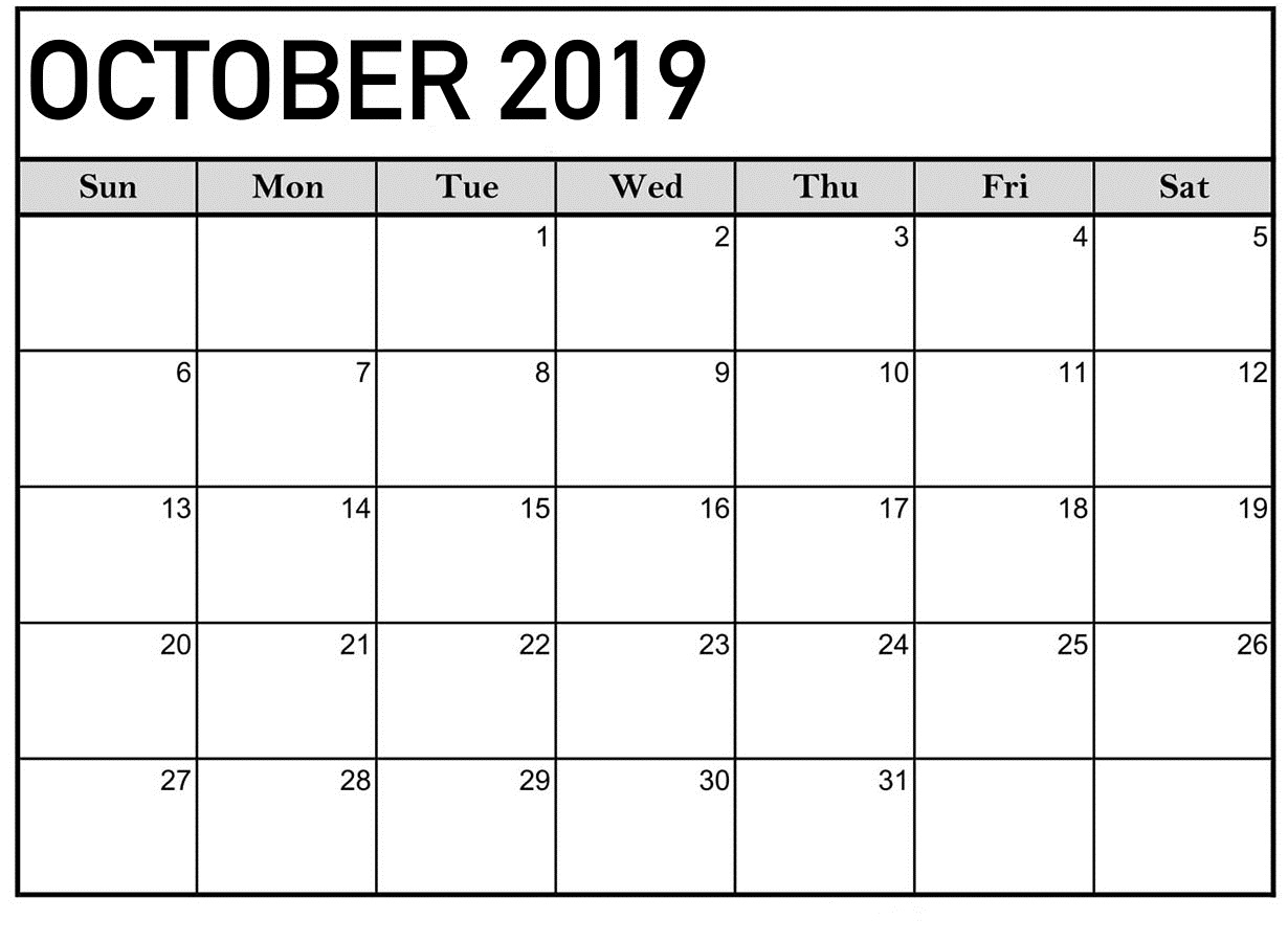 October 2019 Calendar Blank Templates - Print Calendar