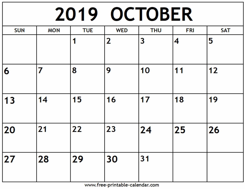 October 2019 Calendar - Free-Printable-Calendar