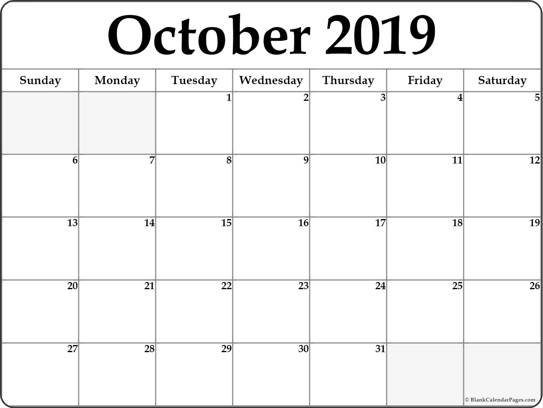 October 2019 Calendar | Free Printable Monthly Calendars
