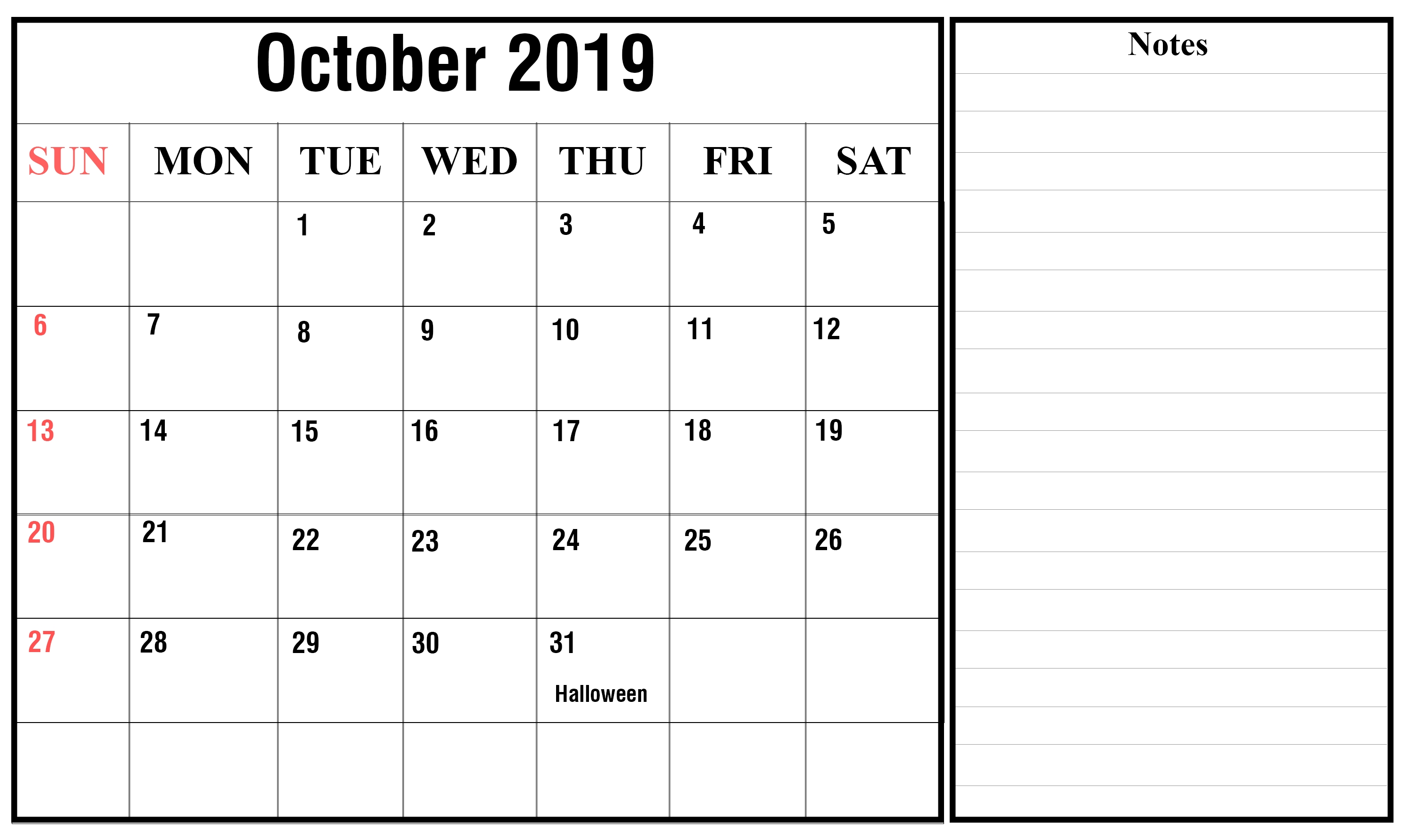 October 2019 Calendar Printable Template With Holidays