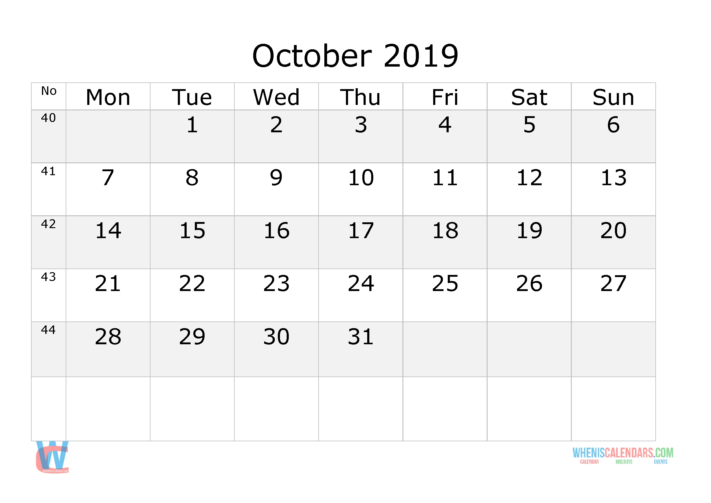 October 2019 Calendar With Week Numbers Printable, Start