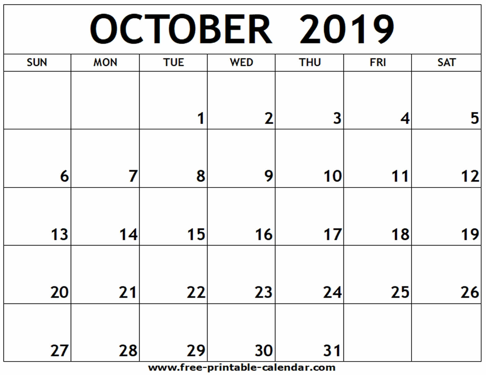 October 2019 Printable Calendar - Free-Printable-Calendar