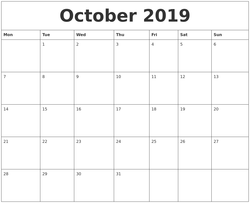 October 2019 Printable Calendar Pages