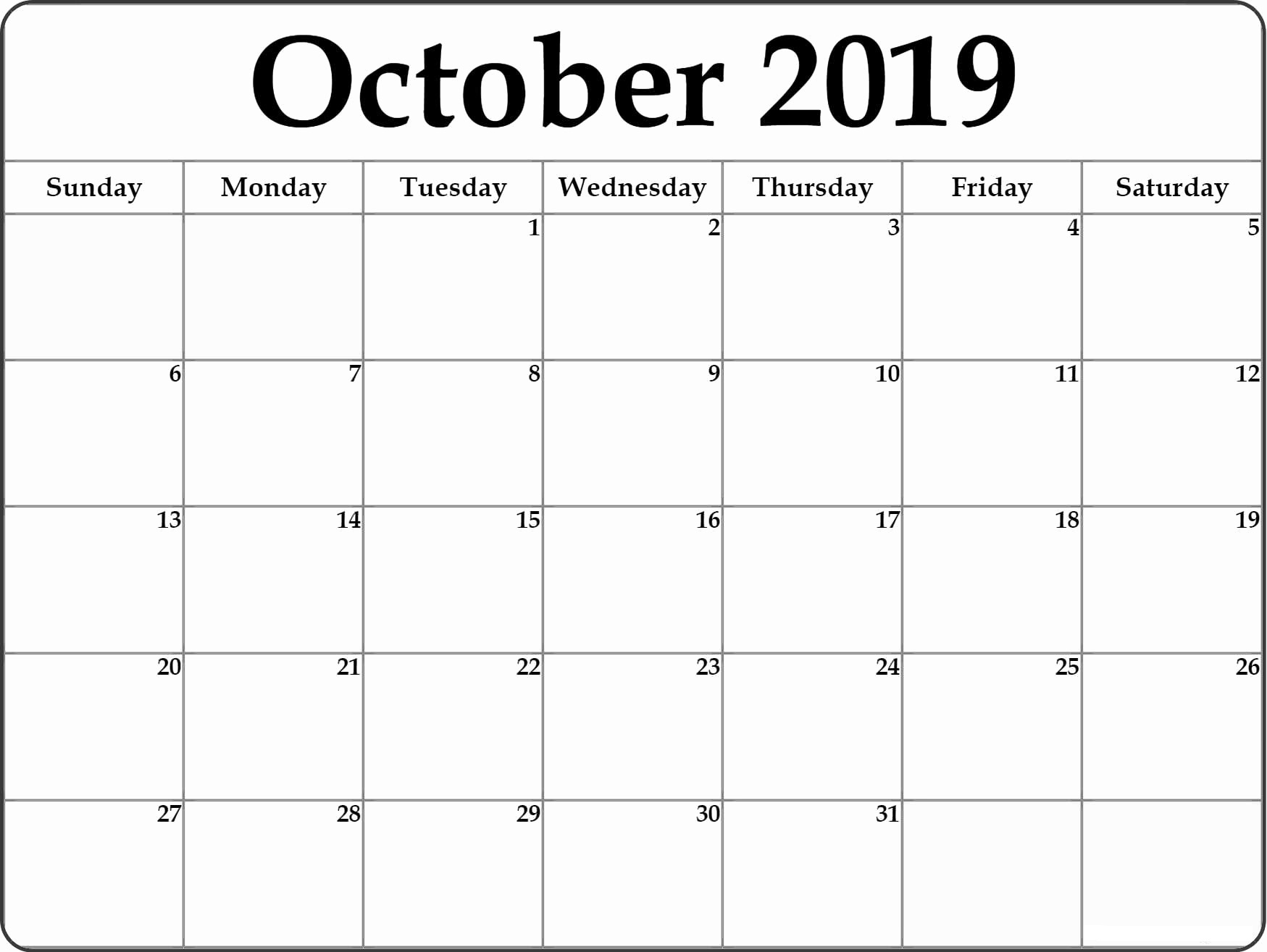 October 2019 Printable Calendar Pdf Free Monthly Template