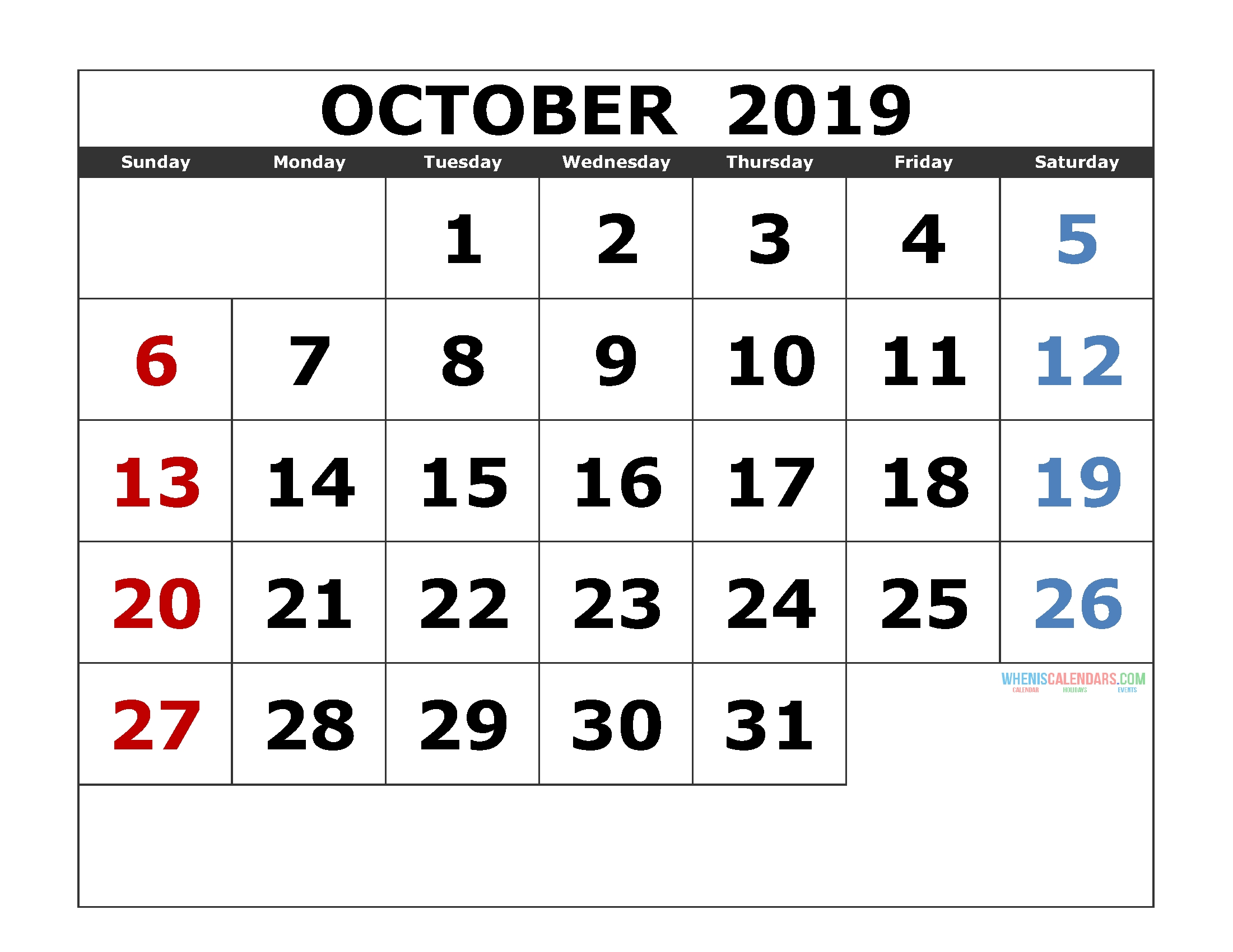 October 2019 Printable Calendar Templates [ 2019 Monthly