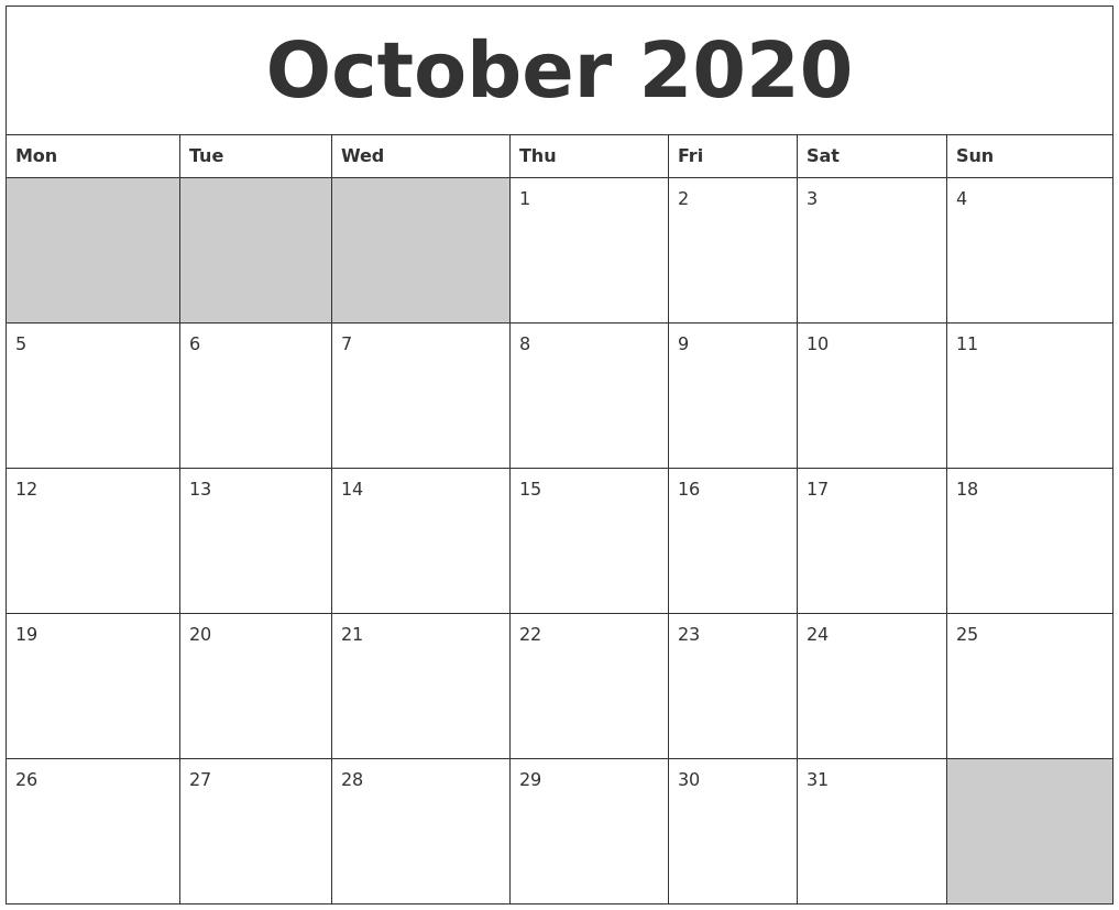 October 2020 Blank Printable Calendar