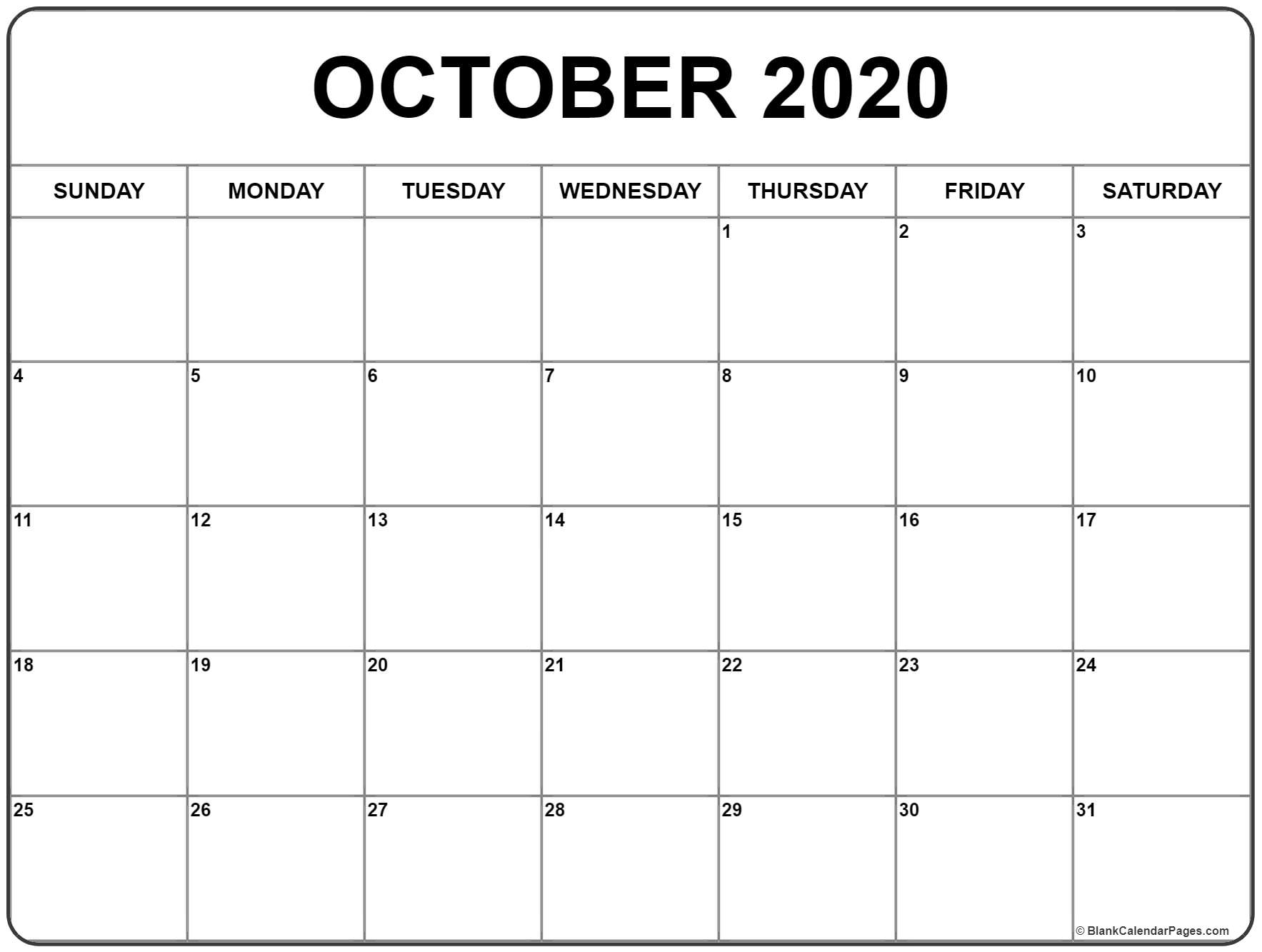 October 2020 Calendar | Free Printable Monthly Calendars