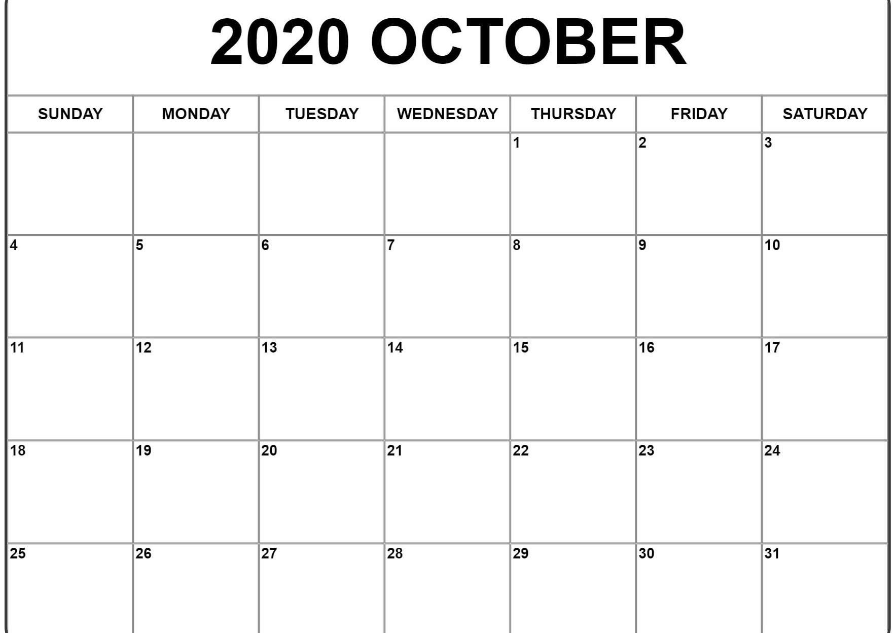 October 2020 Calendar Pdf, Word, Excel Template 2 | Calendar