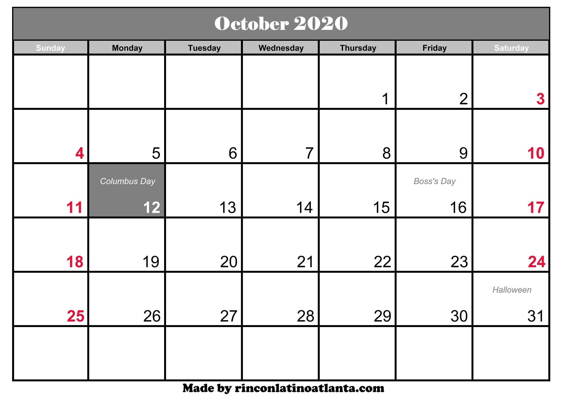 October 2020 Calendar Printable With Holidays | Calendar