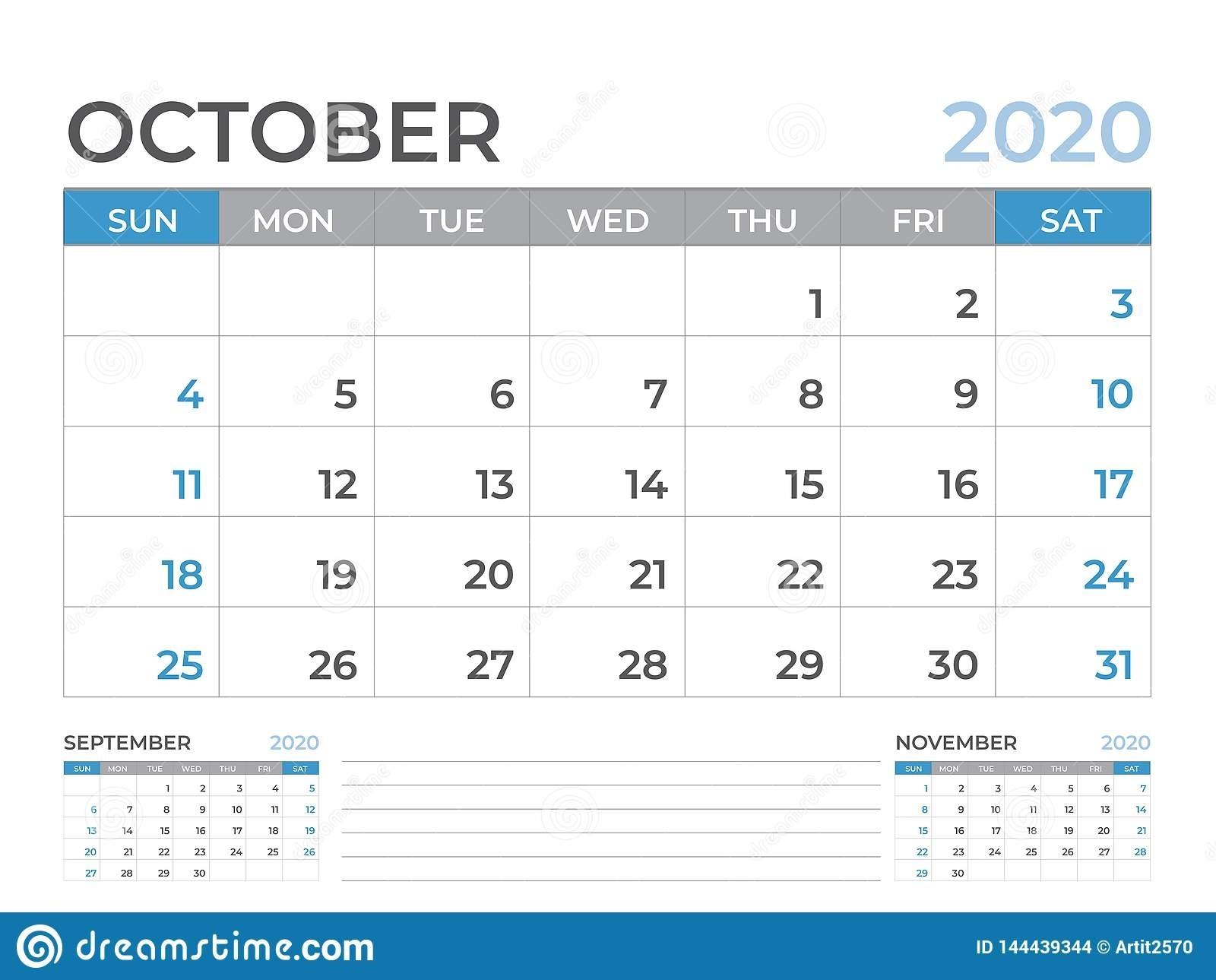 October 2020 Calendar Template, Desk Calendar Layout Size 8