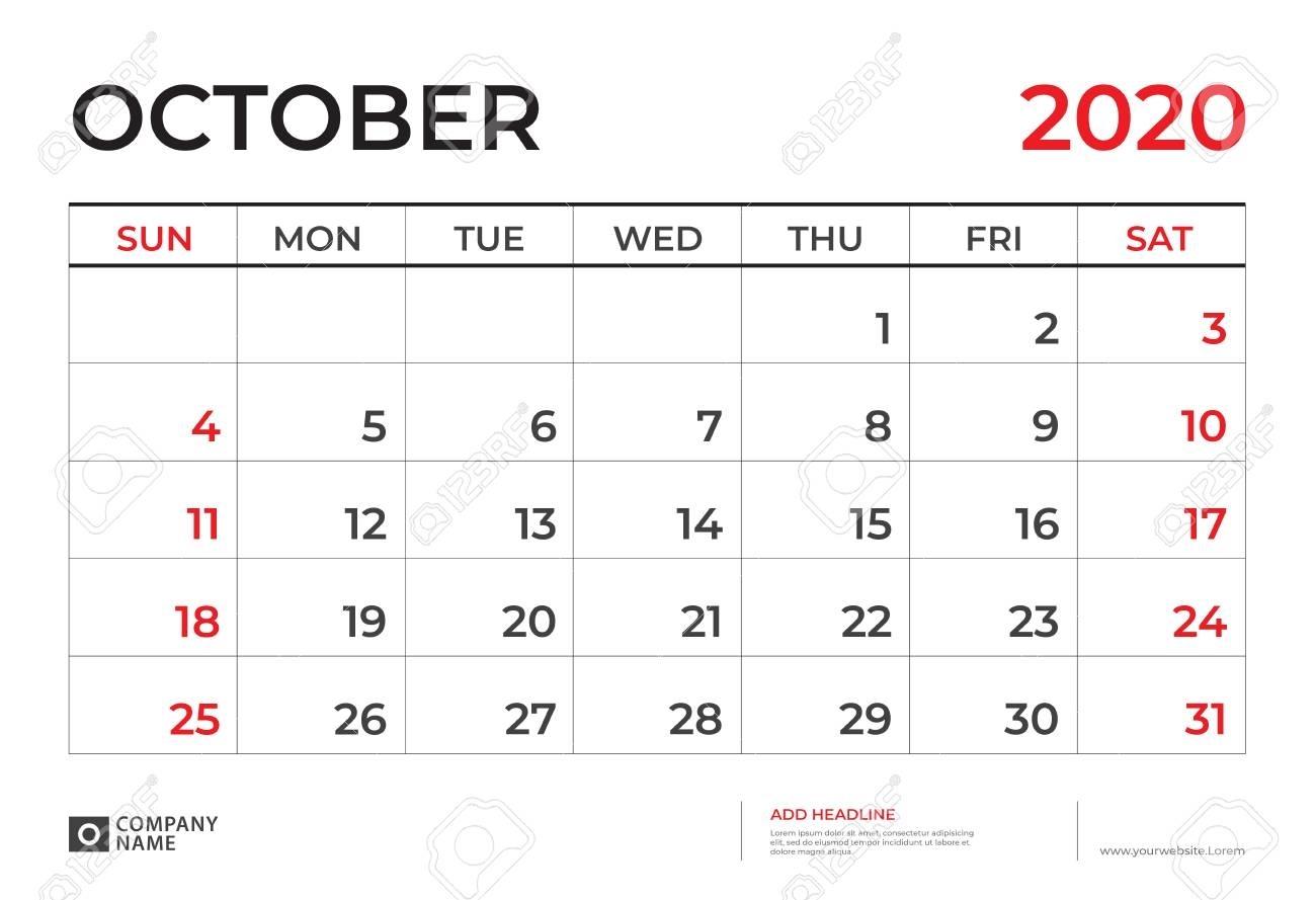 October 2020 Calendar Template, Desk Calendar Layout Size 9.5..