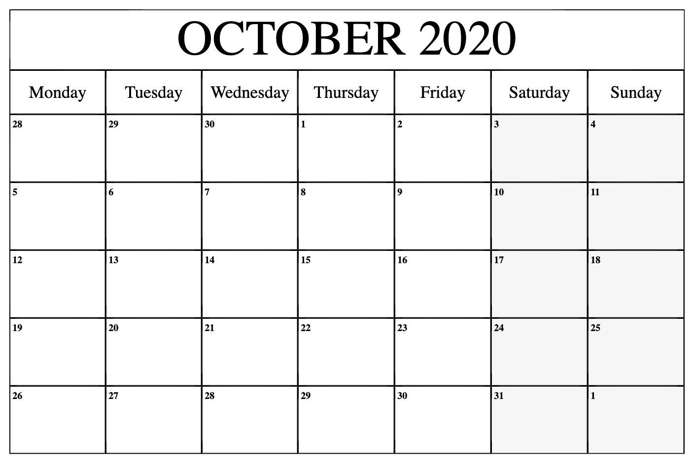 October 2020 Calendar Template Word, Pdf, Excel Format