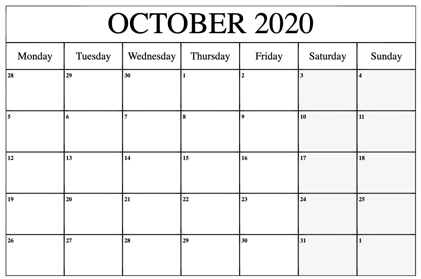October 2020 Calendar Template Word, Pdf, Excel Format