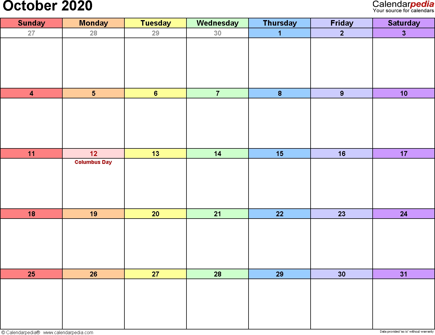 October 2020 Calendars For Word, Excel & Pdf