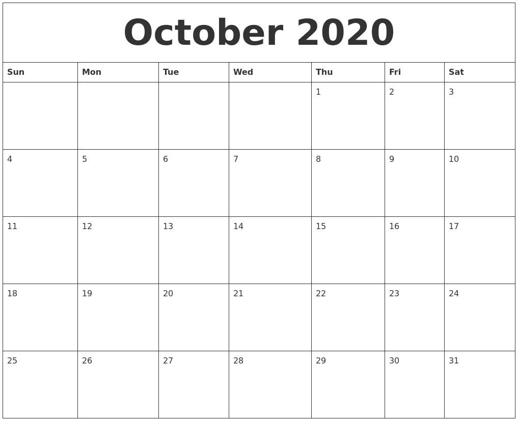 October 2020 Free Printable Calendar Templates