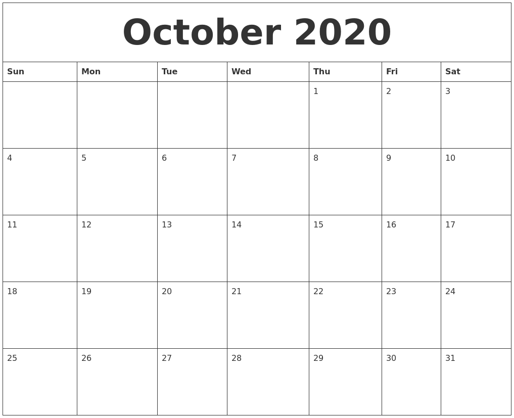 October 2020 Free Printable Calendar Templates