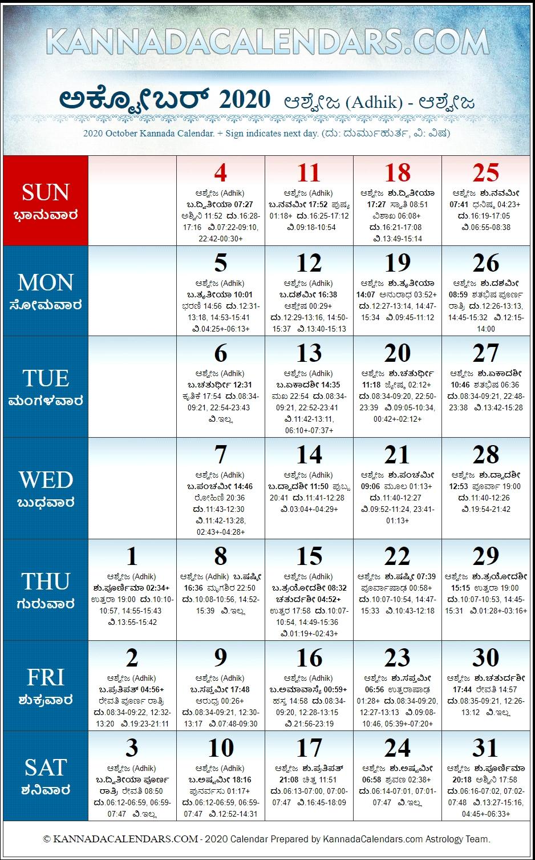 October 2020 Kannada Calendar | Sharvari Nama Samvatsara