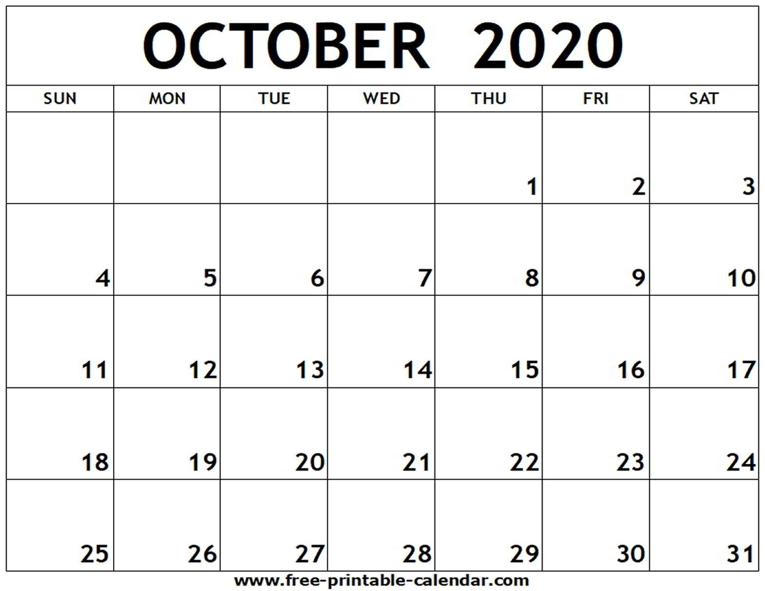 October 2020 Printable Calendar - Free-Printable-Calendar