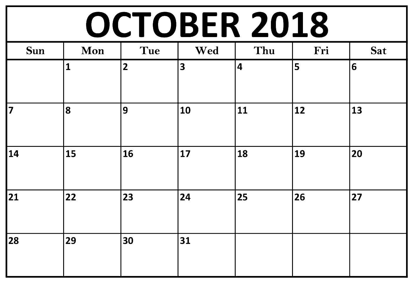 October Calendar 2018 Large Print Template | October