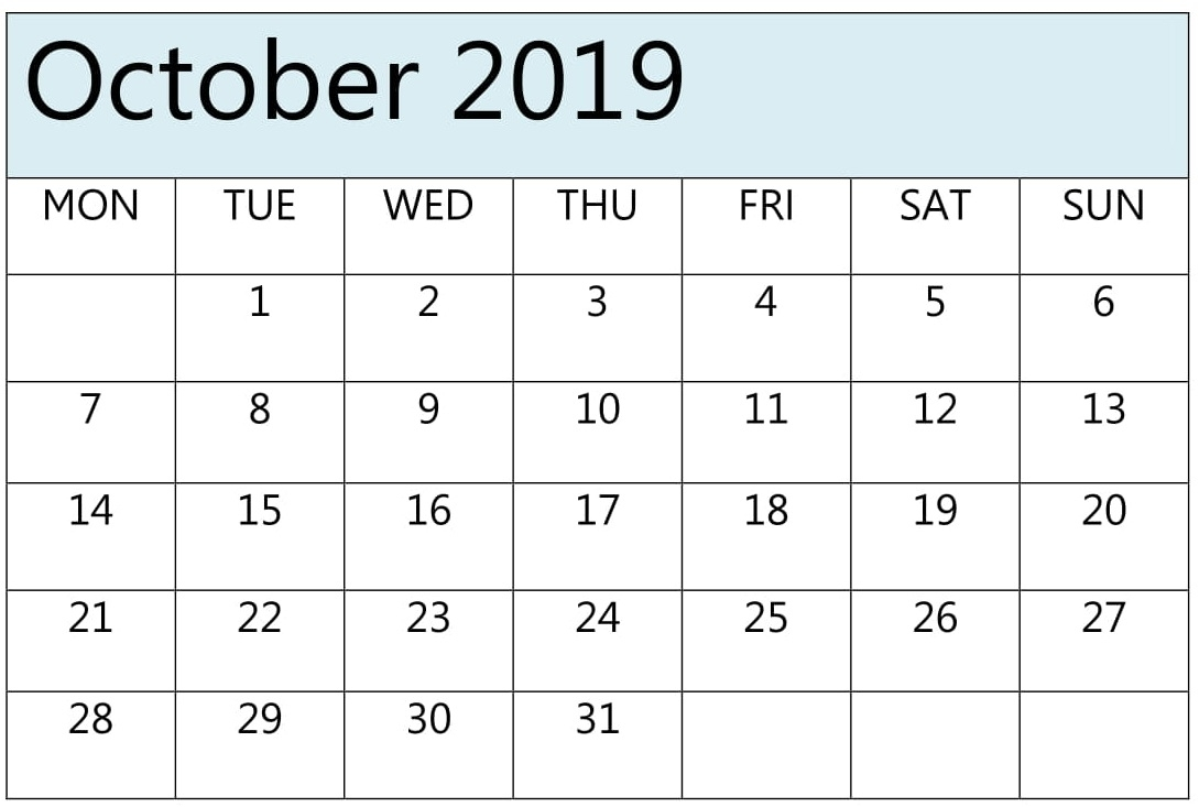 October Calendar 2019 Pdf, Excel Download – Free Latest