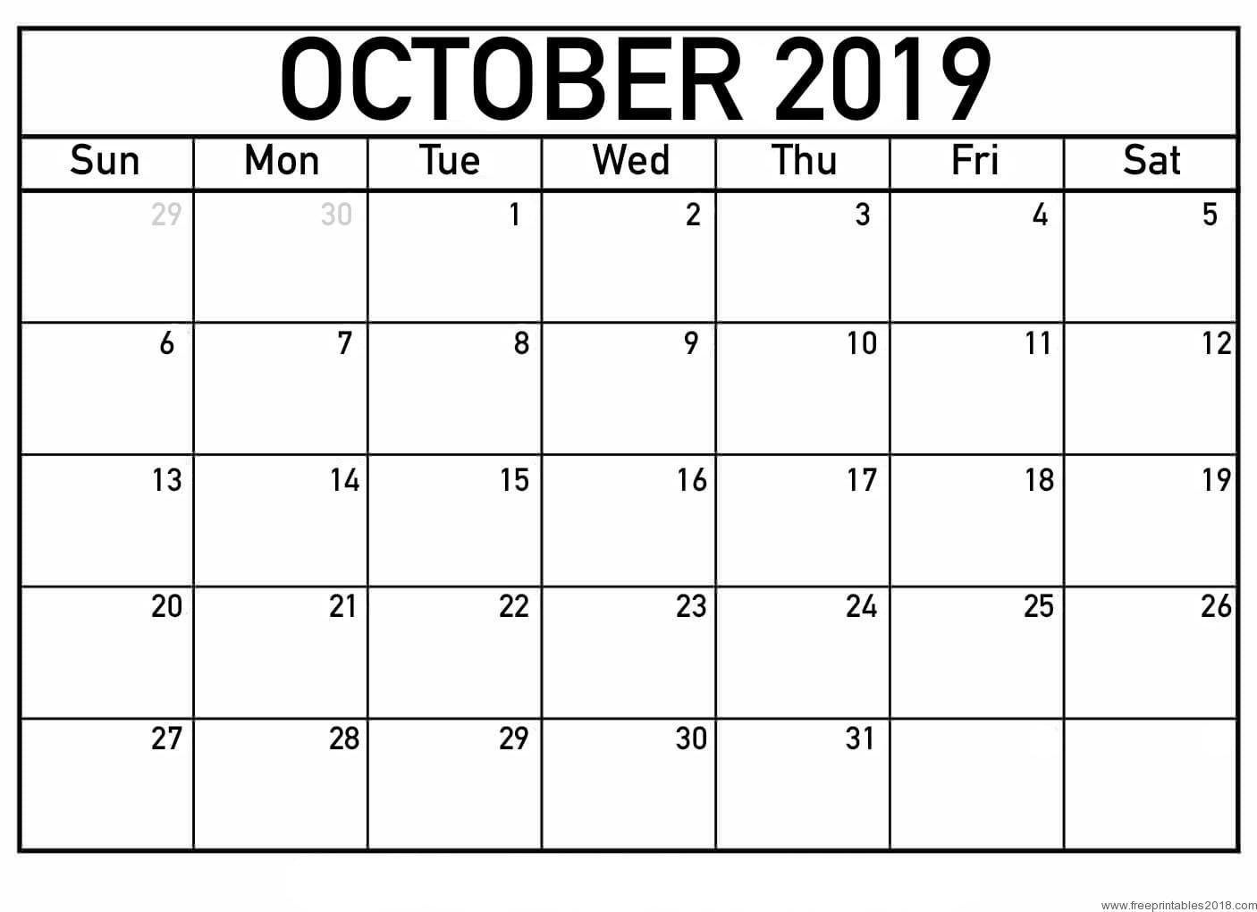 October Calendar 2019 Printable Template – Pdf, Word, Excel