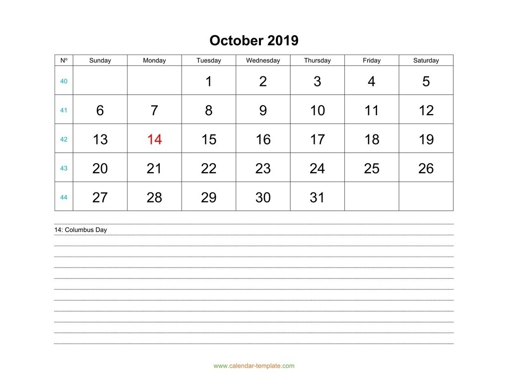 October Calendar 2019 With Space For Notes
