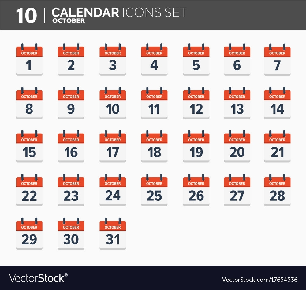 October Calendar Icons Set Date And Time 2018