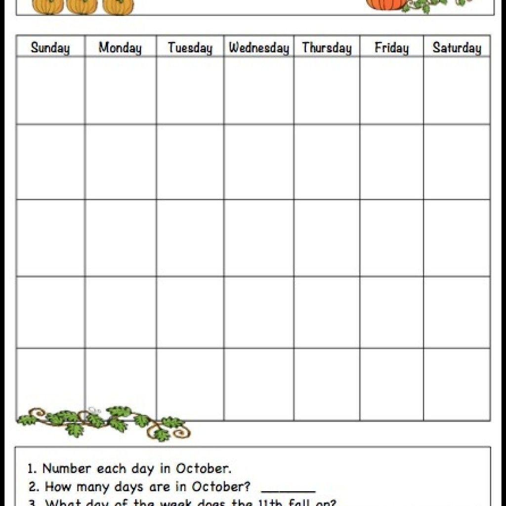 October Learning Calendar Template For Kids (Free Printable