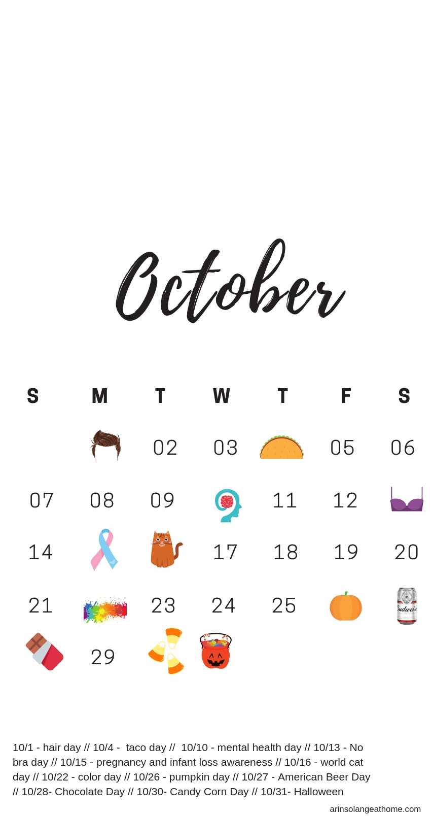 October National Days Calendar - Arinsolangeathome