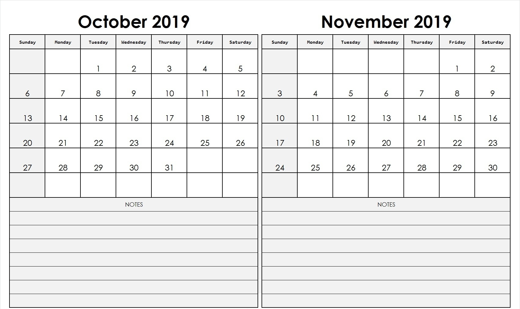 October November 2019 Calendar Printable (2 Month Templates