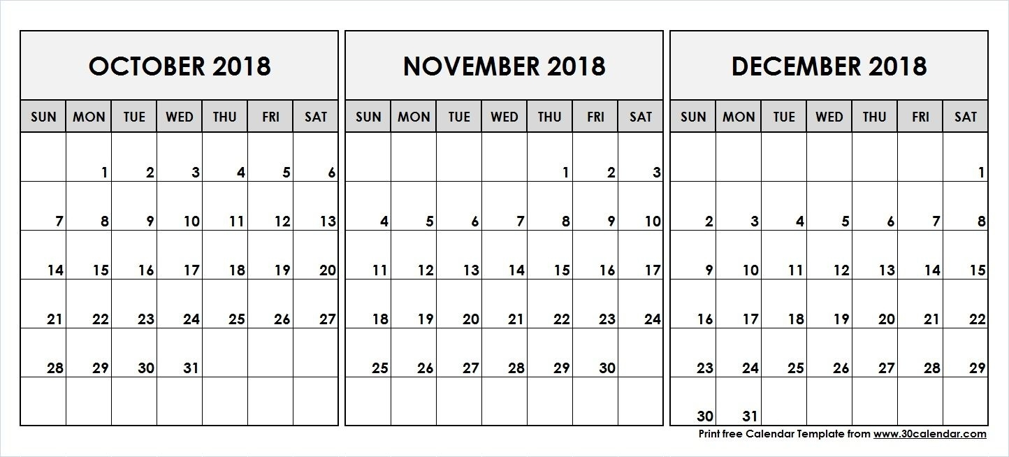 October November December 2018 Printable Calendar In 2019