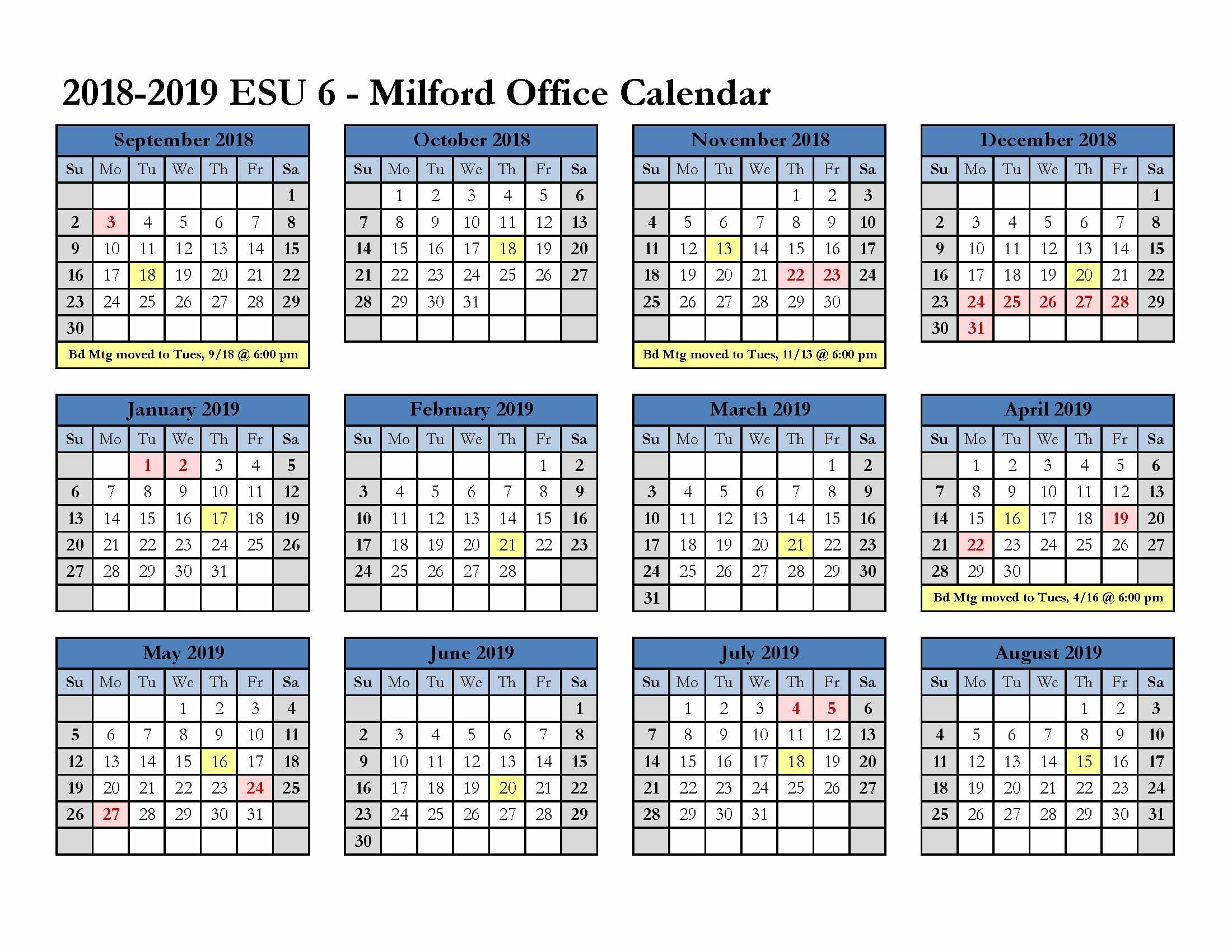 Office Calendar | Human Resources | Educational Service Unit 6
