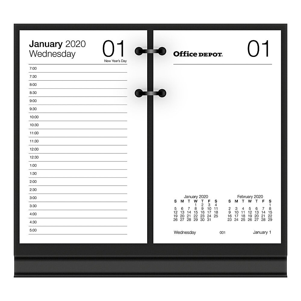 "Office Depot® Brand Daily Desk Calendar Refill, 3-1/2"" X 6"", White, January  To December 2020, Sp717D50"