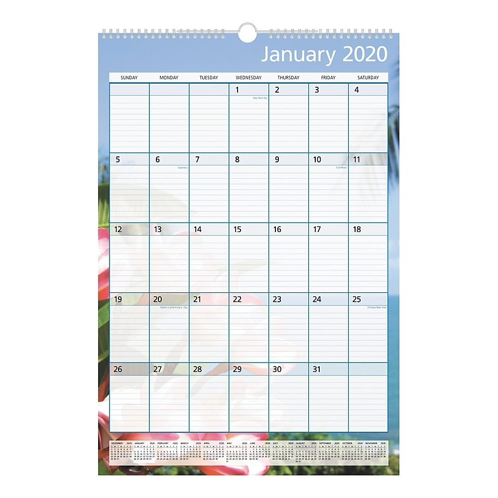 """Office Depot® Brand Monthly Wall Calendar, 15-1/2"""" X 22-13/16"""", Paradise,  January To December 2020, 303128"""