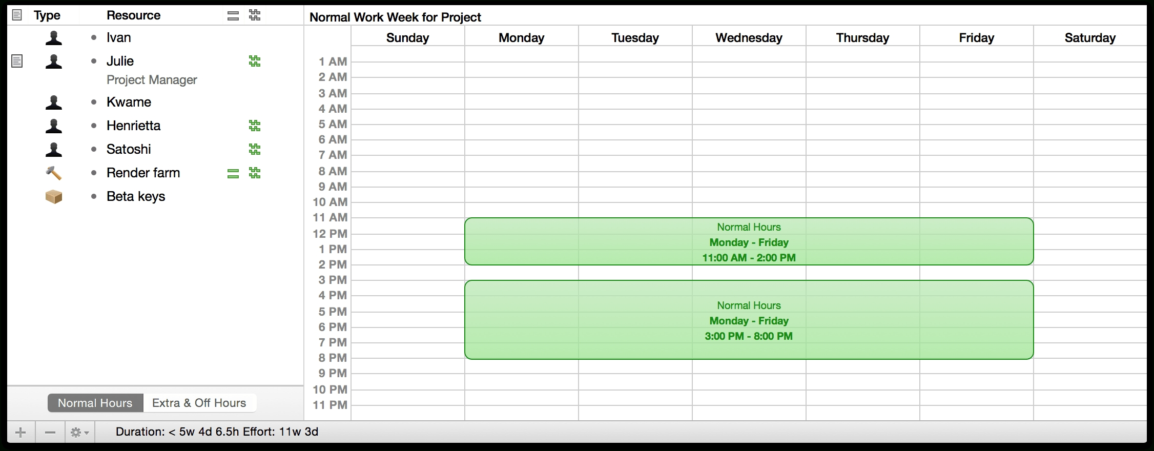 Omniplan 2 For Mac User Manual - Using The Calendar