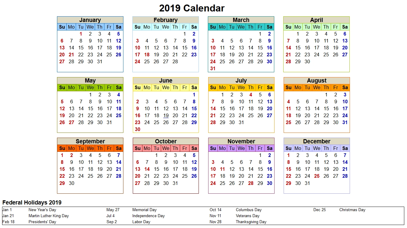 One Page 2019 Yearly Printable Calendar Download. | Calendar