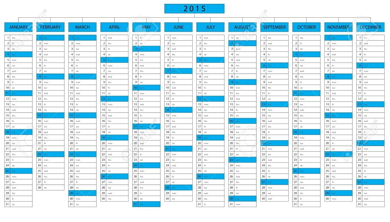 One Page Column Calendar For Year 2015 With Space For Write A..