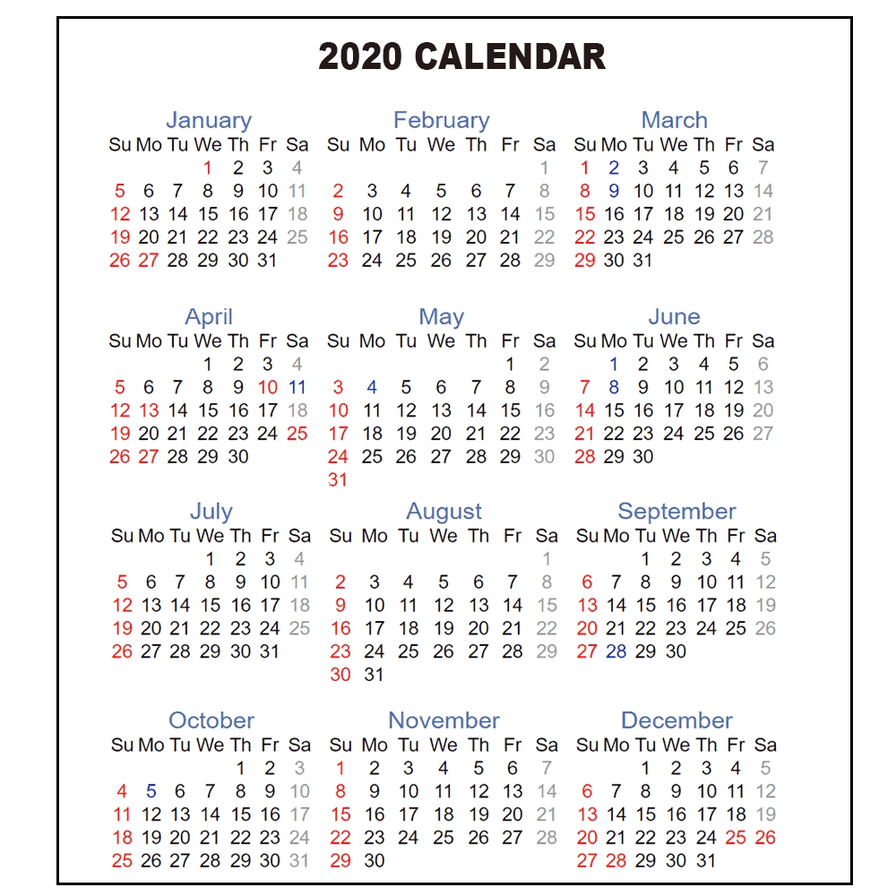 One Page Yearly Calendar 2020 - Cerno.mioduchowski