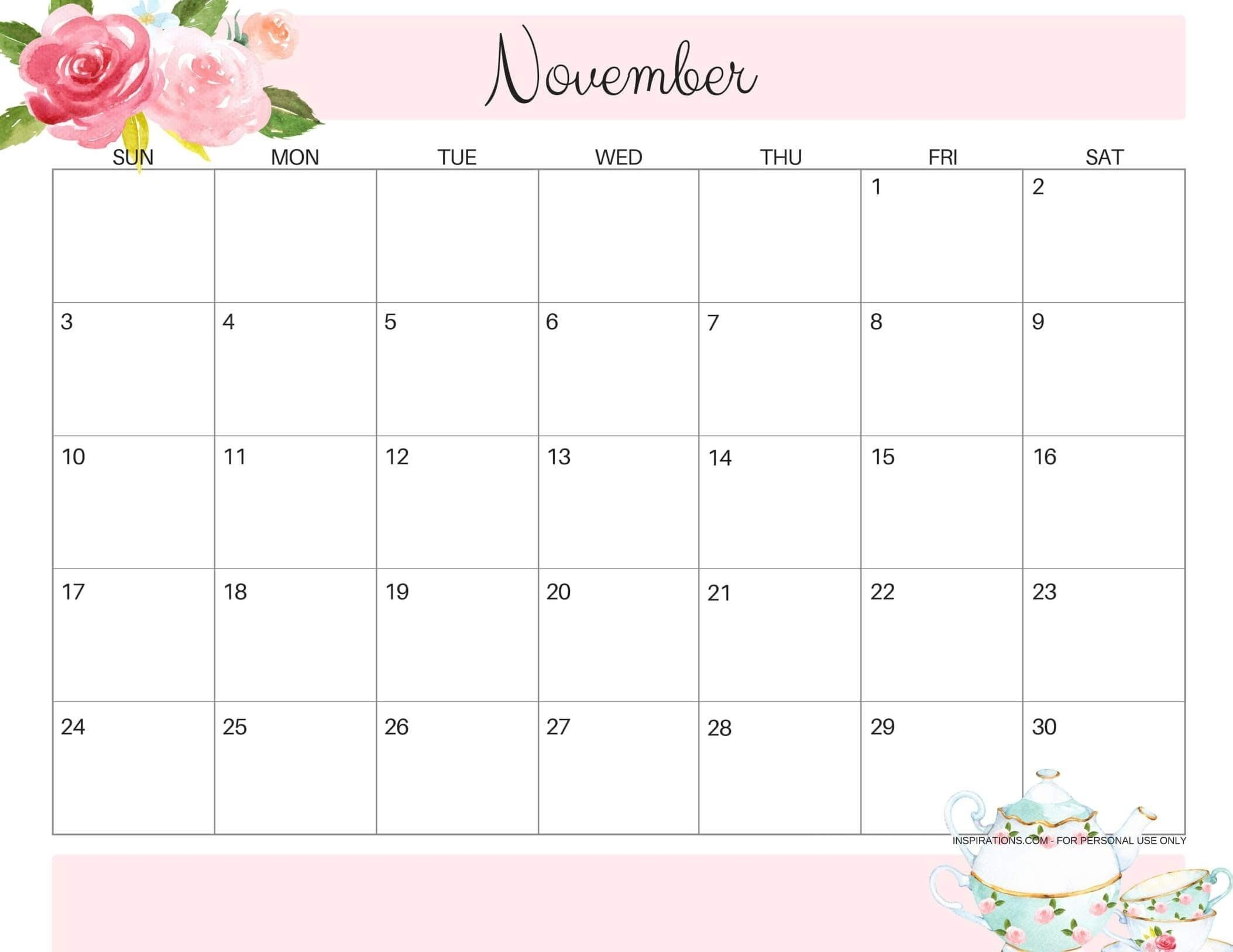 Online Free Printable November 2019 Calendar Sheets - Set