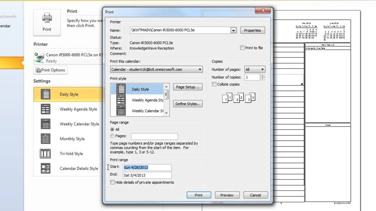 Outlook 2010: How To Print Calendars