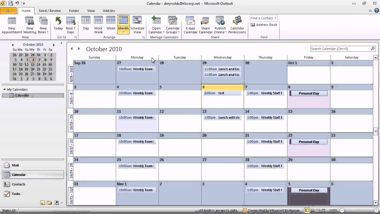 Outlook 2010 - Work With Calendar View Options