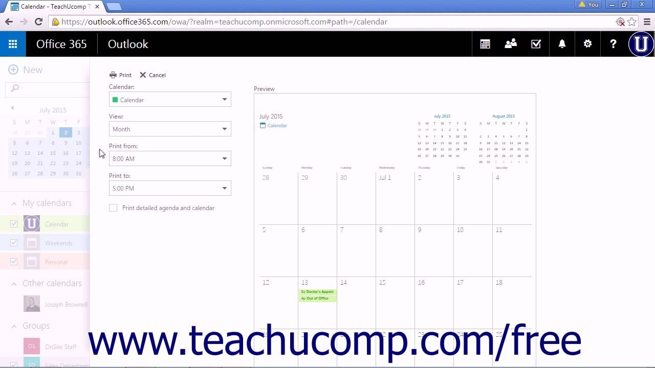 Outlook Web App Tutorial Printing The Calendar 2015 Microsoft Training