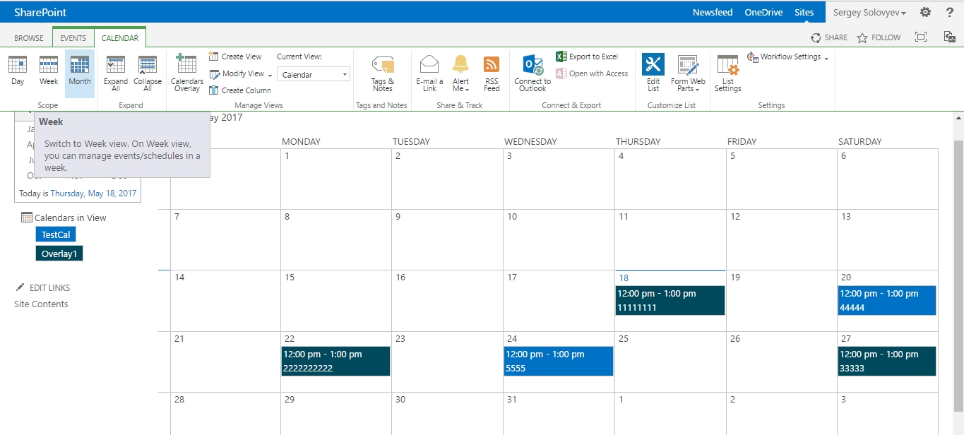 Overlay Calendar Switching Between Weekly And Monthly Views