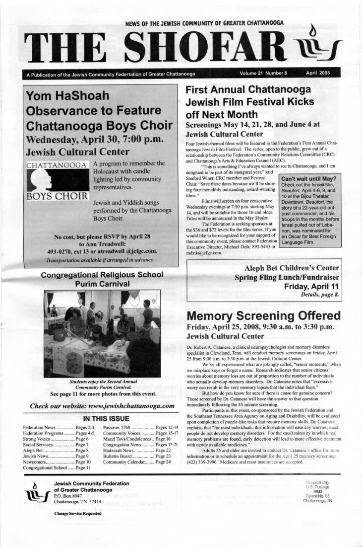Page-001 - Jewish Federation Of Greater Chattanooga Shofar