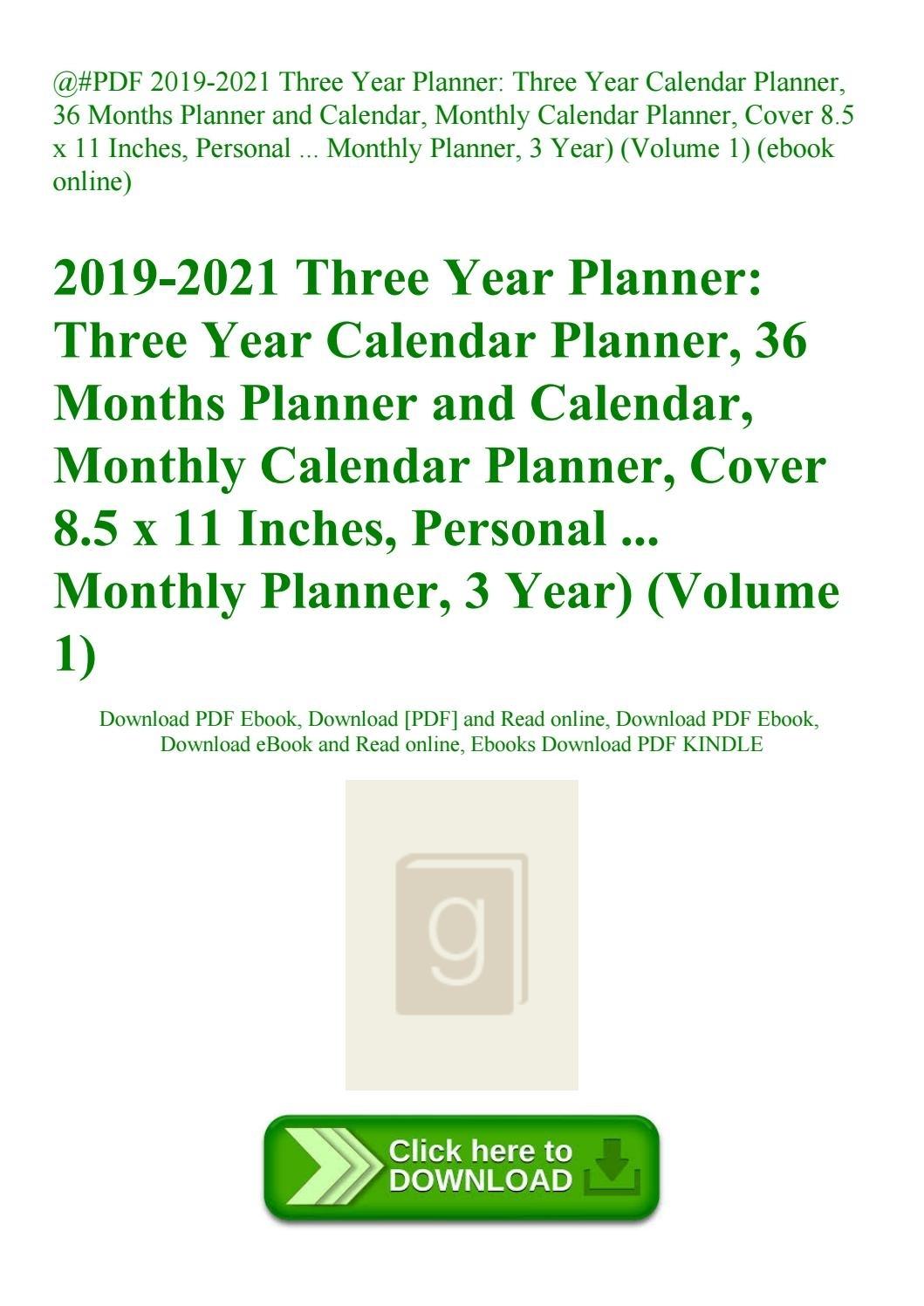 Pdf 2019-2021 Three Year Planner Three Year Calendar Planner