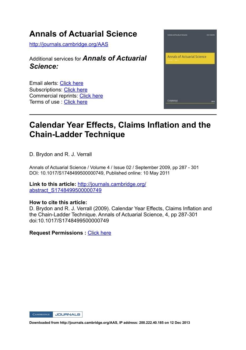 Pdf) Calendar Year Effects, Claims Inflation And The Chain