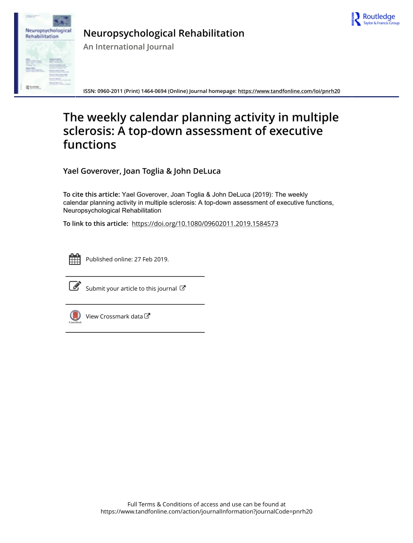 Pdf) The Weekly Calendar Planning Activity In Multiple