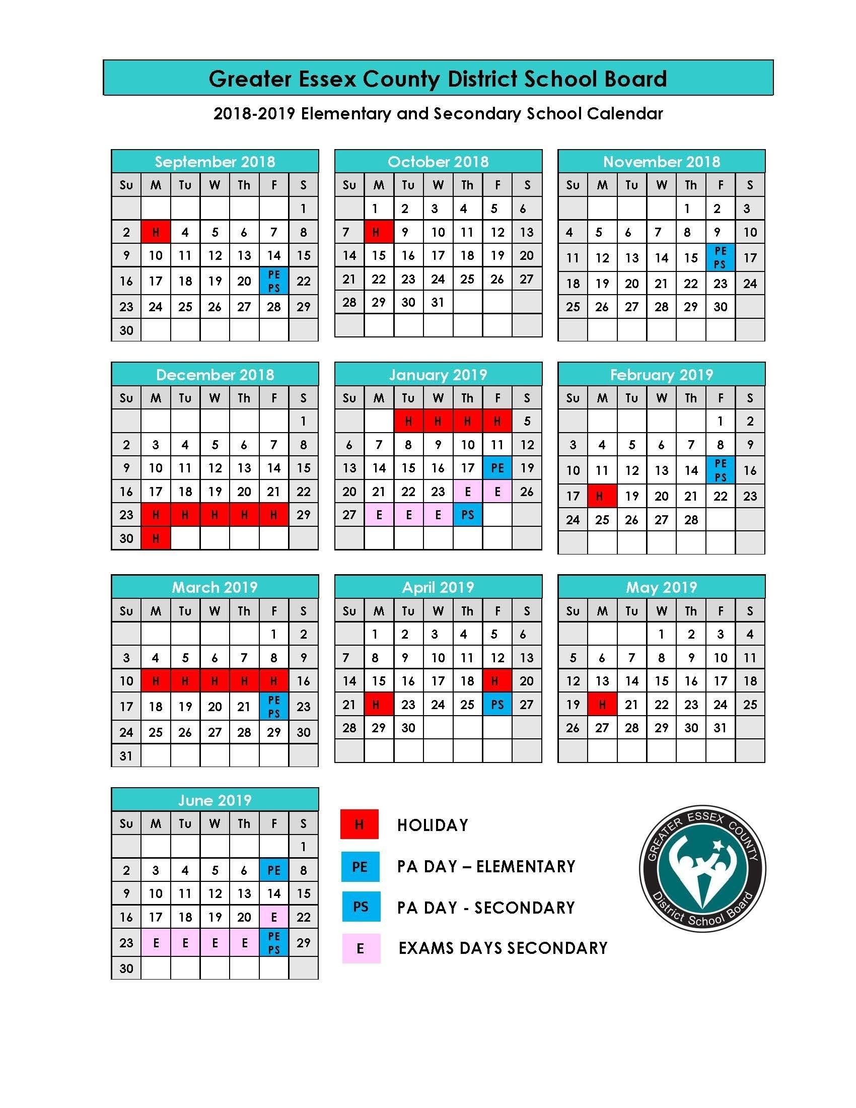 Perky U Of T School Calendar 2019 • Printable Blank Calendar